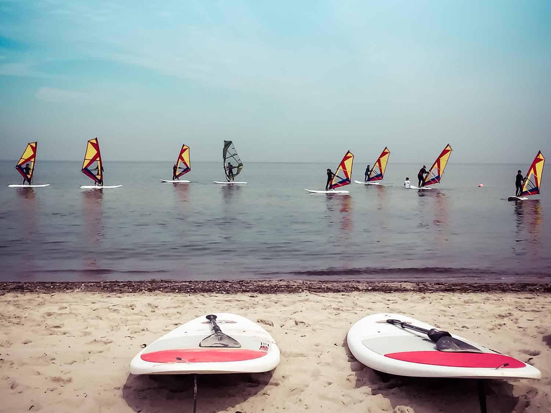 Windsurfen lernen Ostsee Aufbau